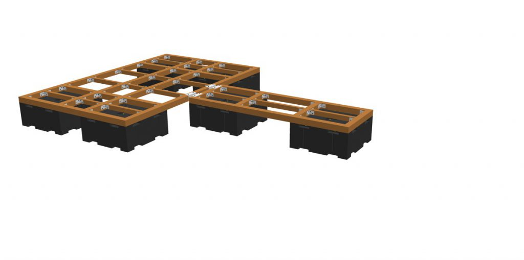 floats PT05 with attached supporting frame (e.g. wooden- or synthetic material beams)