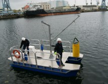 work boat with small revolving crane