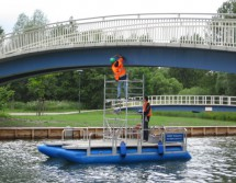 pontoon boat for bridge investigation