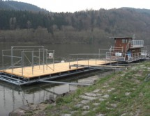 floating platform with wooden deck