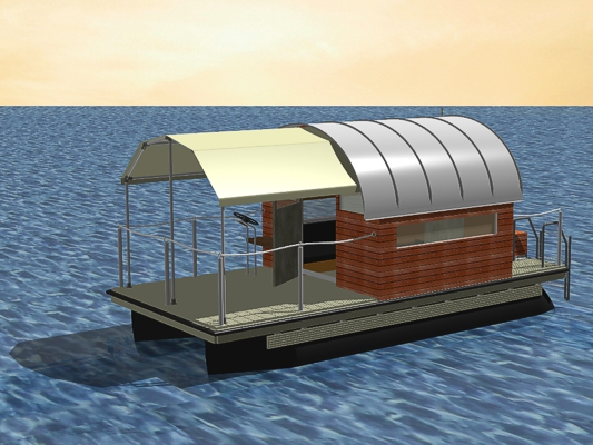 small pontoon raft with sun canopy