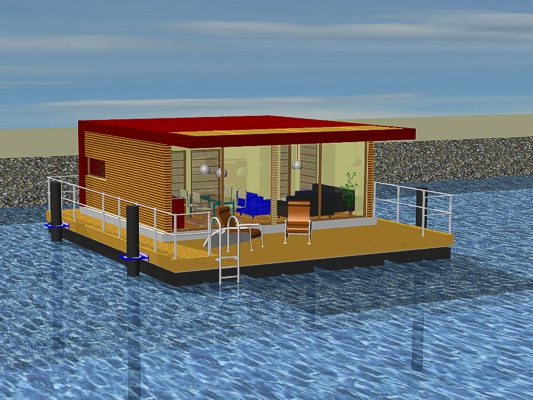 permanently anchored floating home