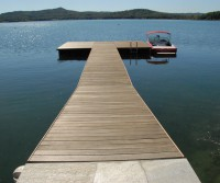 swimming pier with bathing ladder