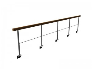 standard railing with wooden hand rail