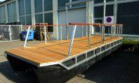 pontoon raft with wooden deck