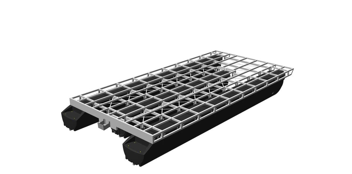 pontoon hulls with screwed-on framework made of aluminum or steel