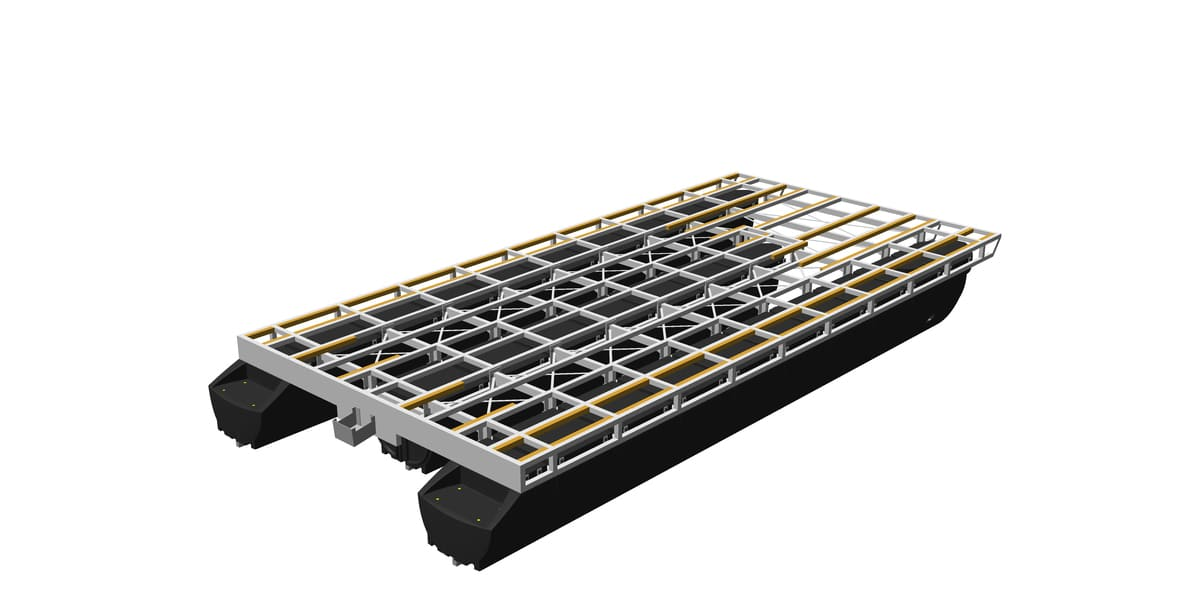 pontoon platform with screwed-on extra profiles made of e.g. wood