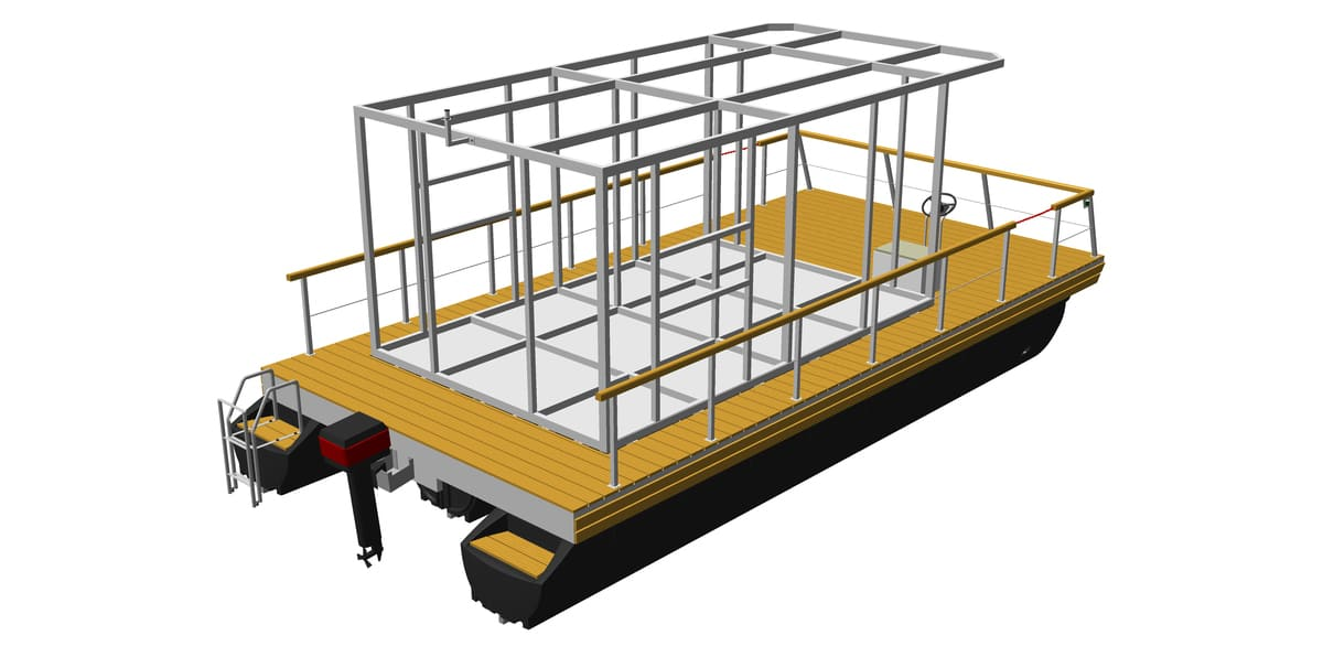 houseboat platform with mounted house framework made of aluminum or steel