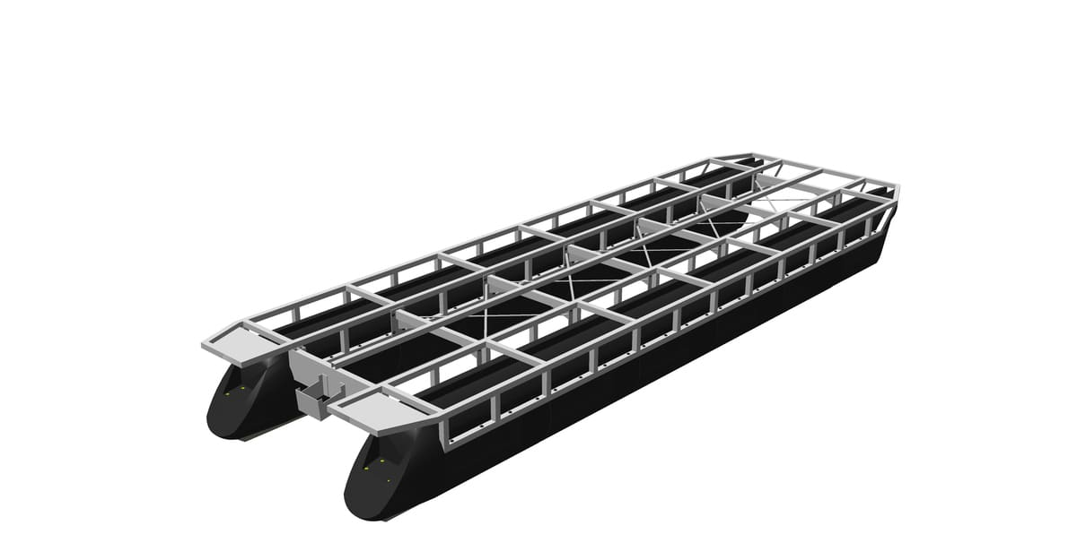 pontoon hulls with screwed-on framework made of aluminum or steel