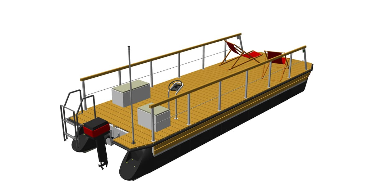 ponton boat platform with attached equipment (e.g. railing, engine, helmstand, bathing ladder)