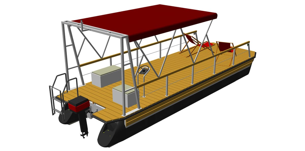 leisure boat with mounted bimini top
