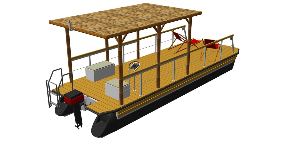leisure boat with mounted flat roof