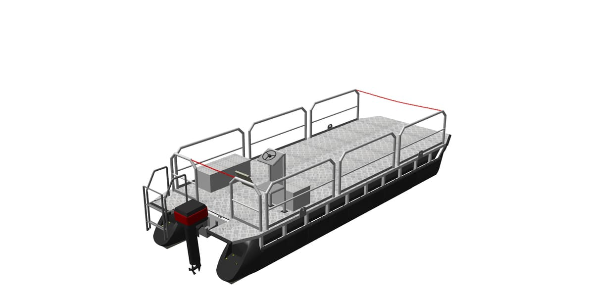 workboat platform with attached equipment (e.g. railing, engine, helmstand, boarding ladder)