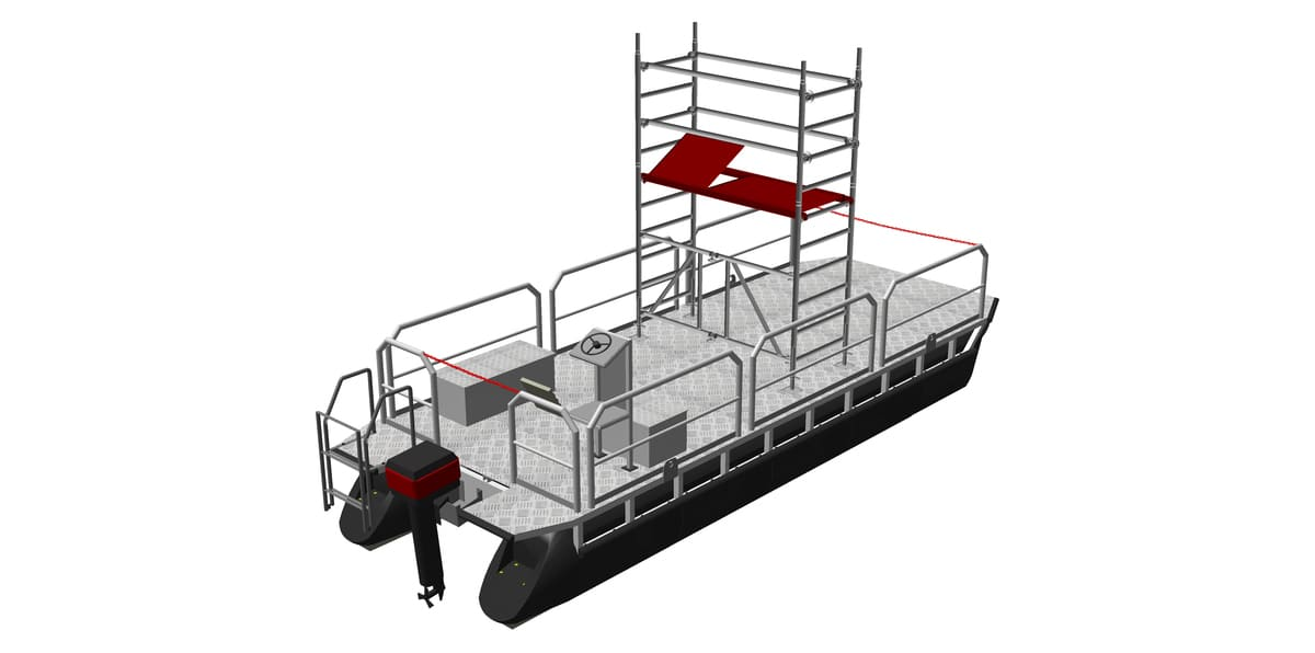 pontoon workboat with mounted scaffolding