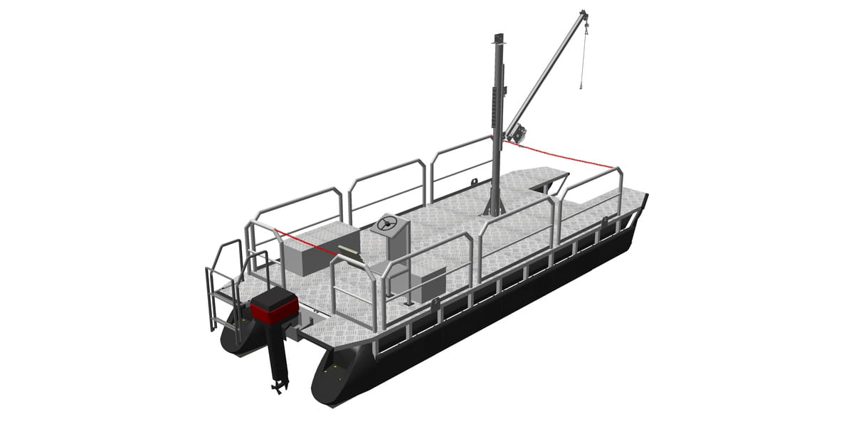 workboat with mounted hand winch