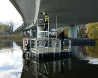 small floating work pontoon with a scaffolding