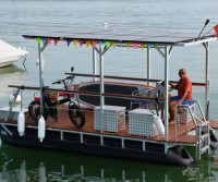 pontoon boat with solar roof