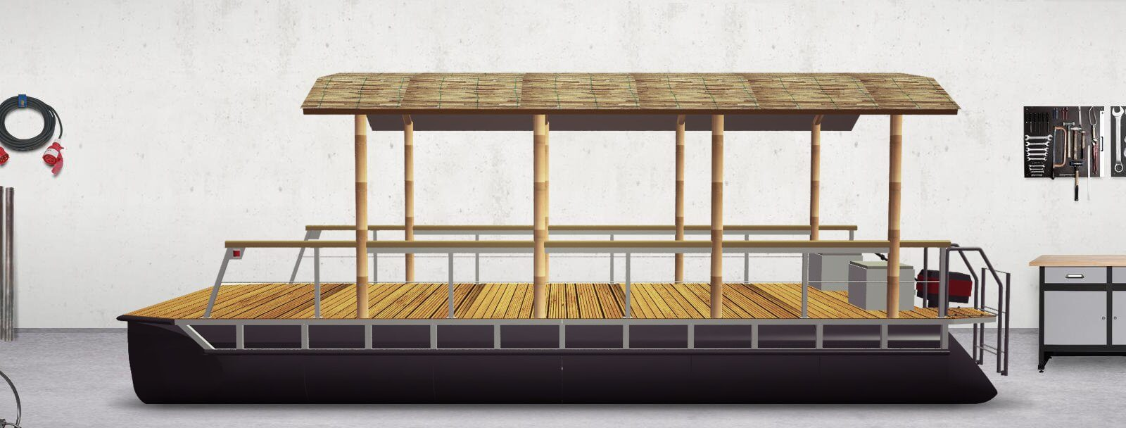 pontoon boat with round roof (complete finished)