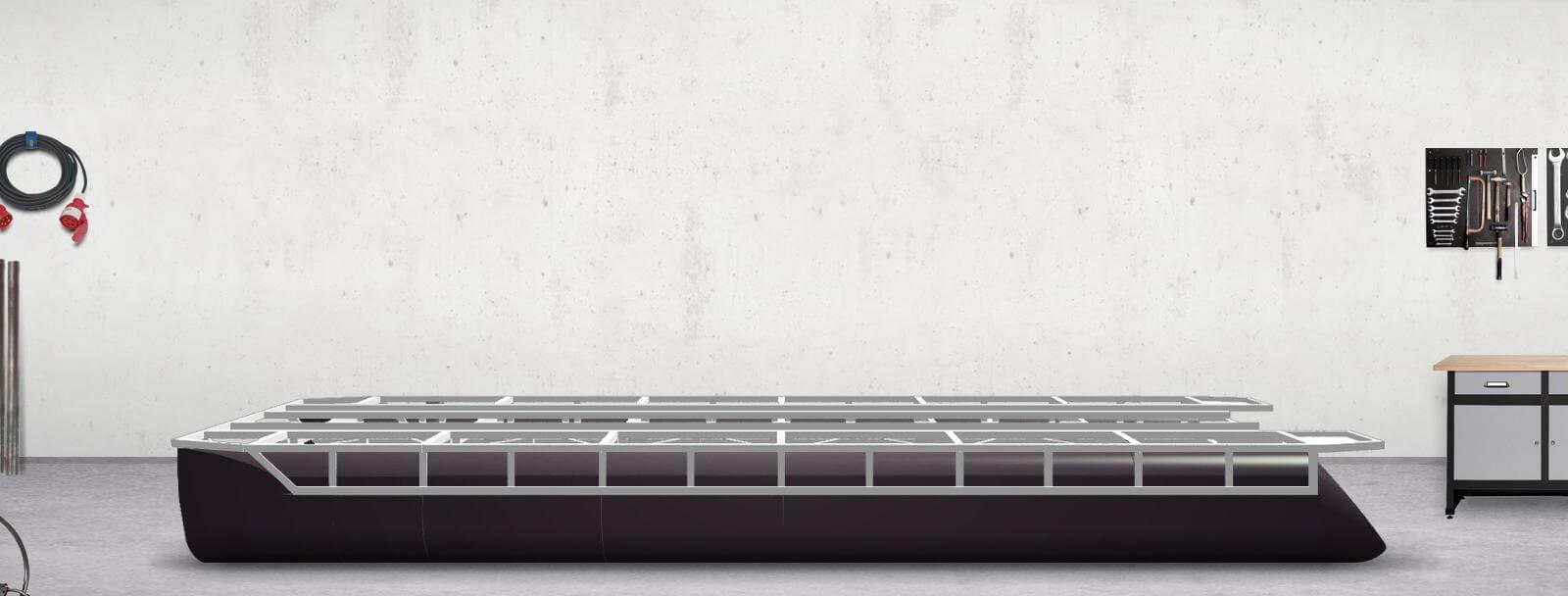 pontoon tubes + support frame