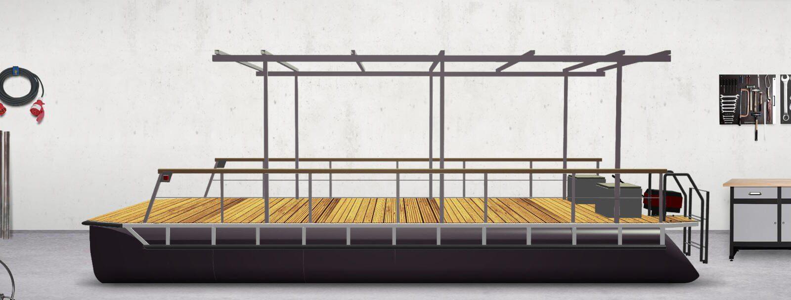 pontoon boat with a flatroof framework