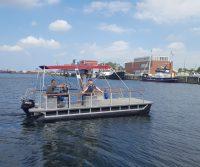 motor catamaran with awning