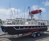 pontoon catamaran on a trailer
