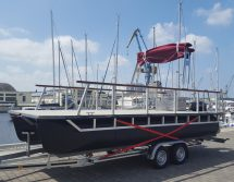 pontoon catamaran on a trailer