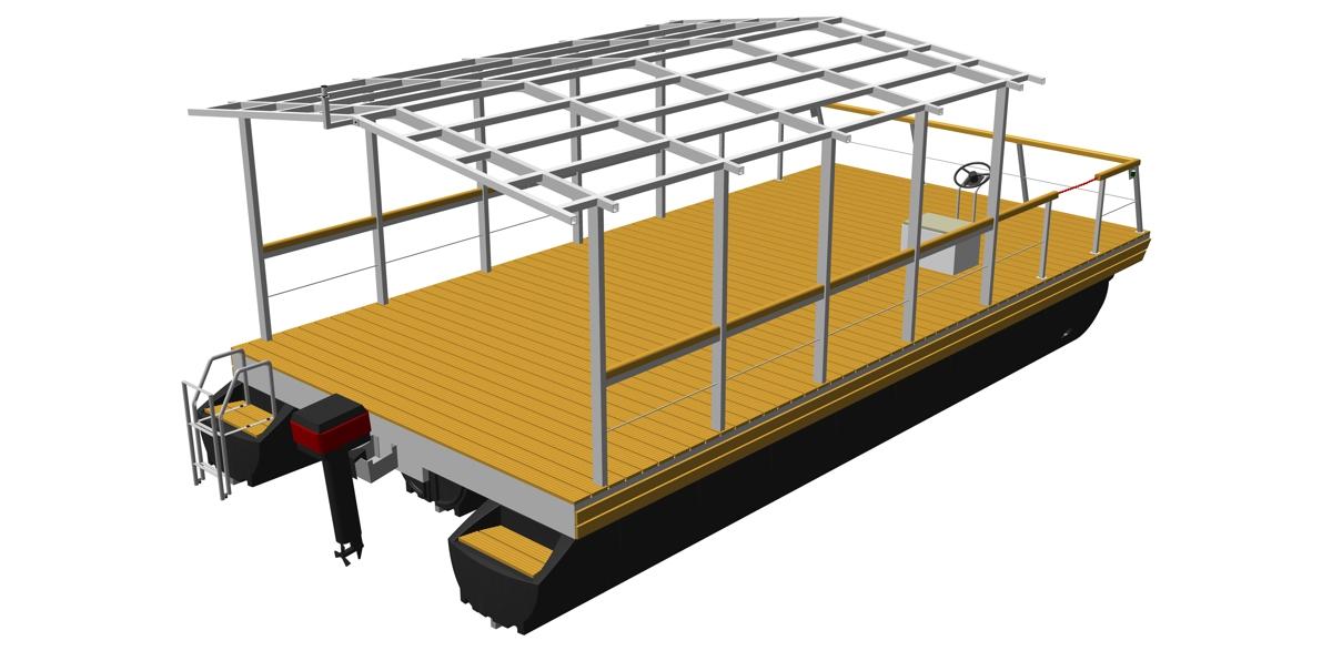 pontoon platform with mounted house framework made of aluminum or steel