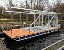 house boat pontoon ready for finishing