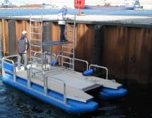floating work pontoon with scaffolding